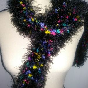 Accessories - Super long fuzzy black scarf with neon colors